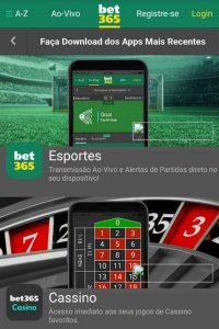 Aplicativo Bet365 para Android e iPhone
