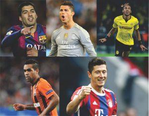 Suárez, Cristiano Ronaldo, Aubameyang, Alex Teixeira e Lewandowski.