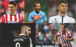 Aduriz, Higuaín, Muller, Benzema e Luuk de Jong.