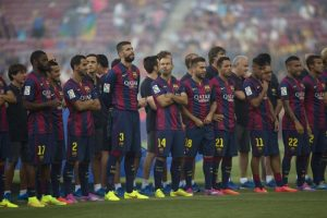 Jogadores do time do Barcelona.