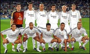 "Time dos ""Galacticos"" do Real Madrid."