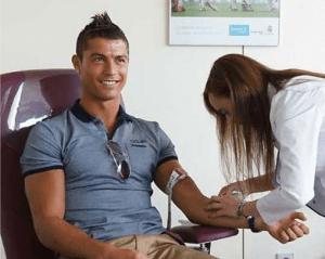 Cristiano Ronaldo em mais uma doação de sangue