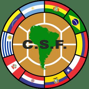 A Copa Bridgestone Libertadores é realizada pela CONMEBOL (símbolo acima).