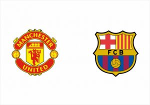Escudos do Manchester United e Barcelona.