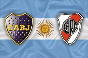 Escudos do Boca Juniors e do River Plate.