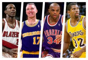 Clyde Drexler, Chris Mullin, Charles Barkley e Magic Johnson.