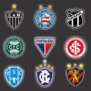 Escudos de nove dos maiores vencedores de estaduais brasileiros.