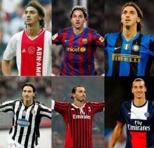 Ibrahimovic com a camisa de todos os clubes jogou pela Liga dos Campeões.