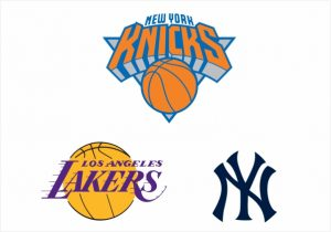 Escudos New York Knicks, Los Angeles Lakers e New York Yankes.