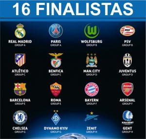 Os 16 clubes classificados para as oitavas de final da Champions League.