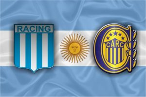 Escudos do Racing e do Rosario Central.