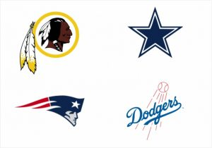 Escudos do Washington Redskins (índio), Dallas Cowboys (estrela), England Patriots e Dodgers.