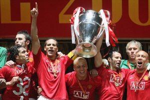 Comemorando o título da Liga dos Campeões