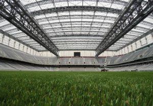 Imagem do interior da Arena da Baixada (Teto retrátil fechado).