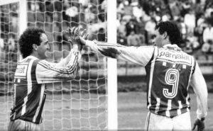 Cuca e Aldair comemorando gol do Palmeiras (Campeonato Paulista de 1992).