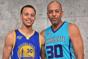 Stephen Curry e seu pai Dell Curry.