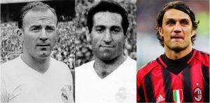 Di Stéfano, Gento e Maldini, os três primeiros do ranking.