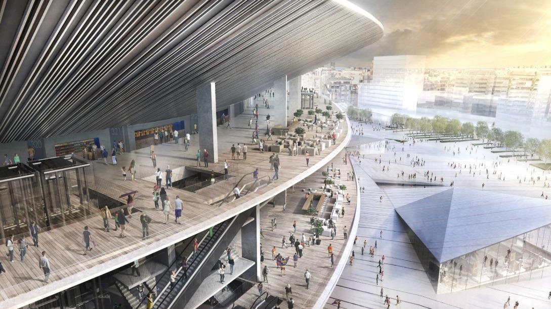 Detalhe da fachada do projeto do novo Camp Nou.