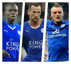 N'Golo Kanté, Danny Drinkwater e Jamie Vardy, jogadores do Leicester.