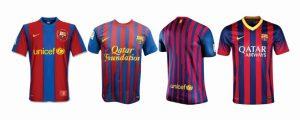 Evolução das camisas do Barcelona.