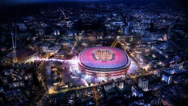 Visão durante a noite, incluindo o Palau Blaugrana a esquerda.