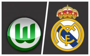 Escudos: Wolfsburg (Alemanha) e Real Madrid (Espanha).