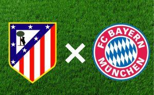 Escudos do Atlético de Madrid e Bayern de Munique.
