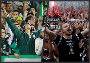 Torcidas do Palmeiras e Corinthians.