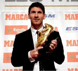 Messi vencedor do Chuteira de Ouro em 2012 (96 gols).