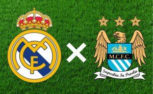 Escudos do Real Madrid e Manchester City.