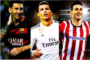 Lionel Messi, Cristiano Ronaldo e Aduriz Zubeldia.