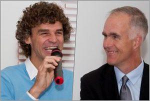 Gustavo Kuerten e Todd Martin durante a nomeação de Guga como embaixador.