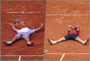 A esquerda Guga e Djokovic repetindo a comemoração.
