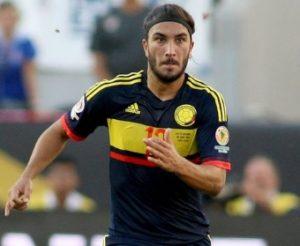 Sebastián Pérez atuando pela seleção colombiana.