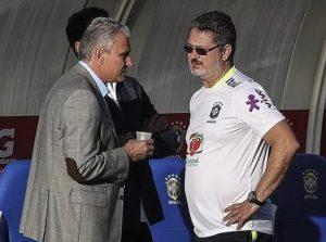 Tite e Rogério Micale na concentração da seleção olímpica.