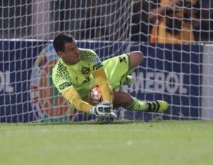 Goleiro Wilson defendendo a penalidade da classificação.