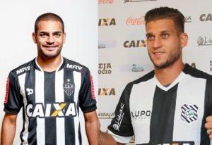 Clayton (esquerda) e Rafael Moura (direita) são os jogadores trocados entre Atlético-MG e Figueirense.