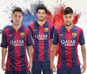 """Trio """"MSN"""" (Messi, Suárez e Neymar), principais responsáveis pelas vendas de camisas do Barcelona."""