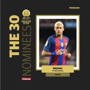 Neymar é o único brasileiro entre os indicados.