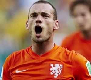 Wesley Sneijder jogando pela seleção holandesa.