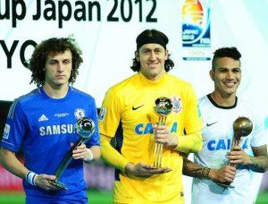 David Luiz, Cássio e Guerrero (Mundial de Clubes 2012).