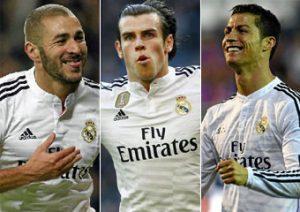 """Trio """"BBC"""" (Benzema, Bale e Cristiano Ronaldo) principais responsáveis pelas vendas de camisas do Real Madrid."""