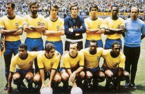 Seleção do Brasil campeã mundial de 1970 (Carlos Alberto é o primeiro da esquerda em pé).