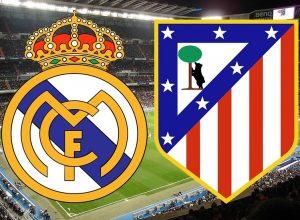 Escudos de Real Madrid e Atlético de Madrid.