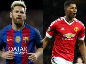 Messi (Barcelona) e Rashford (M. United).