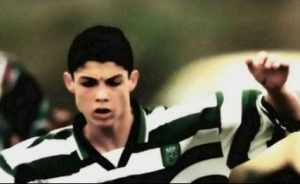 Cristiano Ronaldo nas categorias de base do Sporting CP.