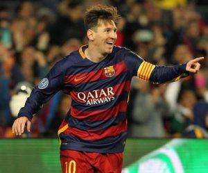 Lionel Messi comemorando gol pelo Barcelona.