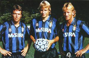 Lothar Matthaus, Jurgen Klinsmann e Andreas Brehme, os três alemães da Internazionale.