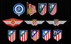 Evolução dos escudos do Atlético de Madrid desde sua fundação.