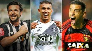 Fred, Willian Pottker e Diego Souza, artilheiros do Campeonato Brasileiro de 2016, 14 gols cada.